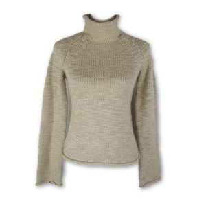 J Crew Wool Blend Ivory Turtle Neck Sweater Small
